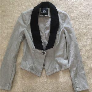 Rock & Republic lt denim tuxedo jacket. Gray, sz 6